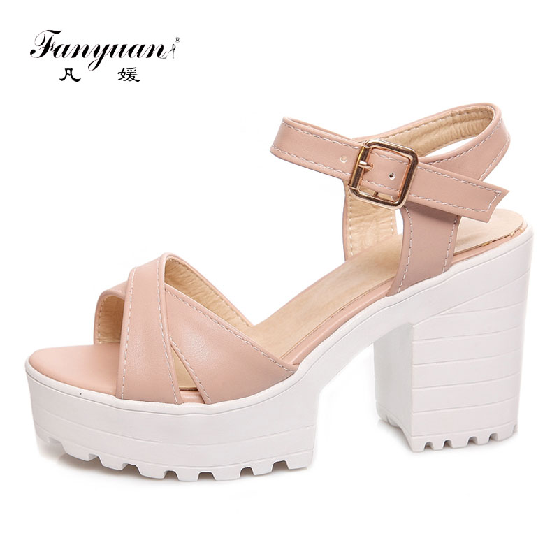Fanyuan Italian 2019 Summer Platform Sandals For Women 34-46 Plus Size Shoes High Heels Sandals Casual Solid Sandalia Feminina