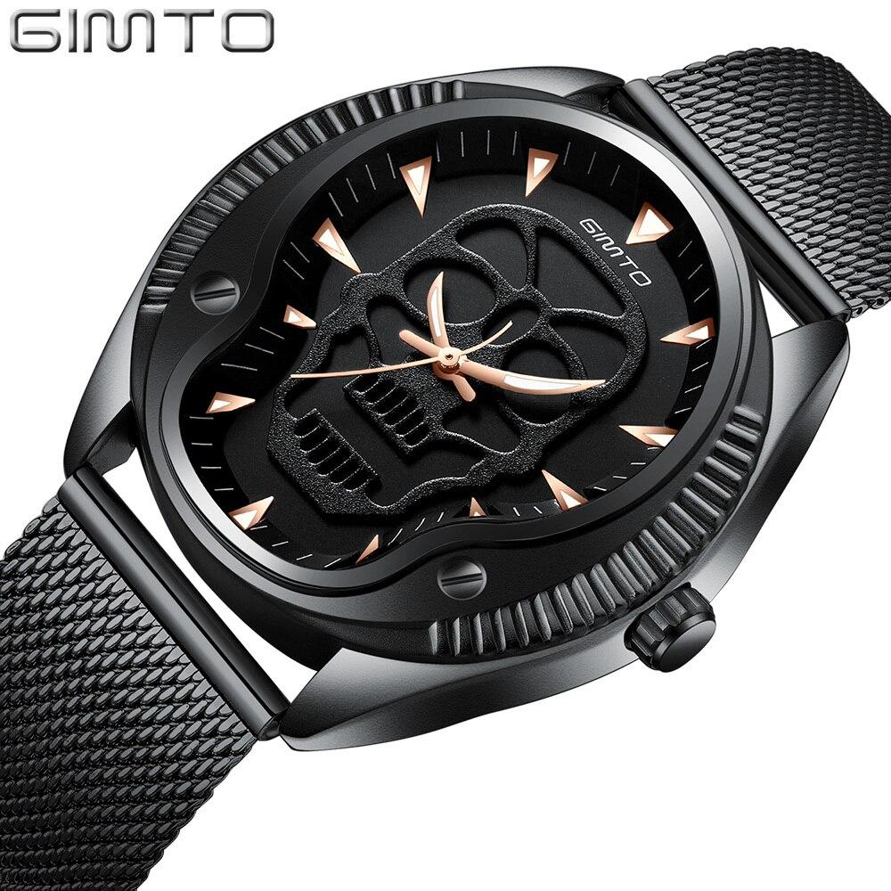 GIMTO Vintage 3D Skull Watch MEN Black Gold Man Watch 2018 Wristwatch Mens Fashion Male Boy Quartz Watch For Men Luxury Casual in Quartz Watches from Watches