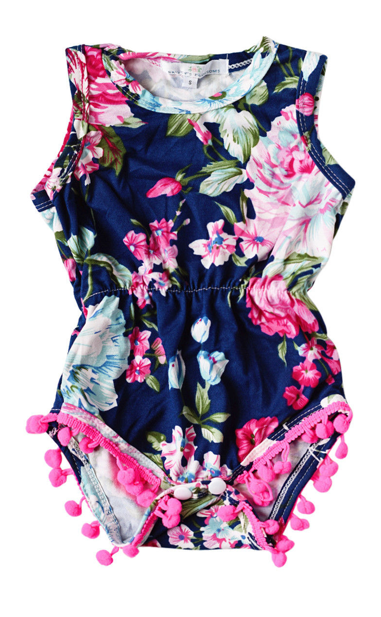Newborn Toddler Baby Girls Floral   Romper   Jumpsuit Sunsuit Clothes Set Sleeveless Summer Girls Clothing