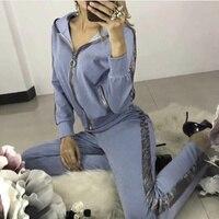 Women's tracksuits 2018 Autumn new hoodies Sweatshirt long sleeve 2 Piece set women Stitching zipper Sporting suit female