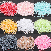 ZOTOONE 1000Pcs 6mm AB Colors Flatback Glue On Rhinestones Pearl Beads Multicolors ABS Resin Half Round Pearls For Nail Art E