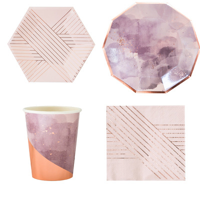 40PCS/Set Pink ink Party Tableware Disposable Paper Plate Cups Foil Straws Utensils Wedding Birthday Party Decorations Xmas DIY