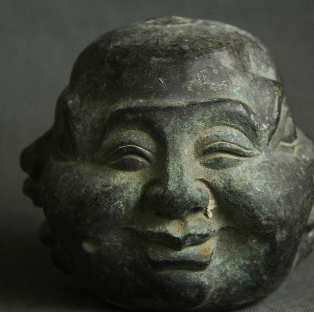 4 Old China Bronze Four Face Moods Happy Laugh Maitreya Buddha Head Bust Statue4 Old China Bronze Four Face Moods Happy Laugh Maitreya Buddha Head Bust Statue