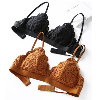 New Young Girl Seamless Vest Bra Set Ultrathin Cotton Bra and Panty Women Lingerie Sexy Embroidery Lace Underwear Sets Black 5