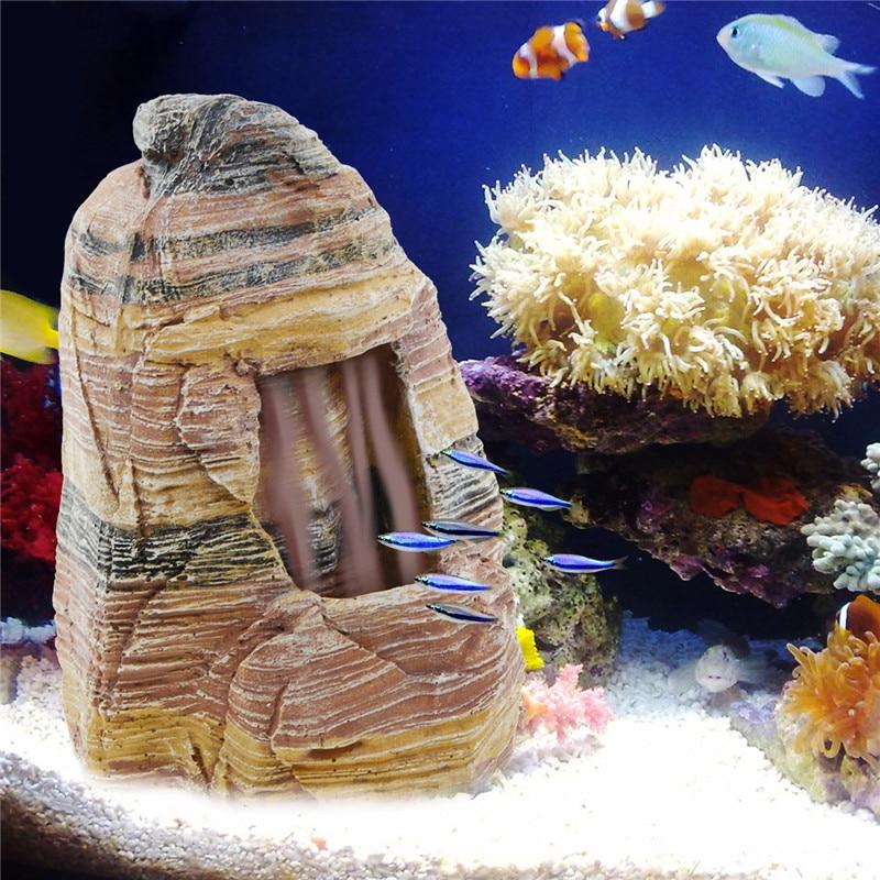 Plus récent Aquarium Lanscaping Rockery décoration Simulation résine grotte pierre roche réservoir de poissons ornements Aquarium décorations fournitures