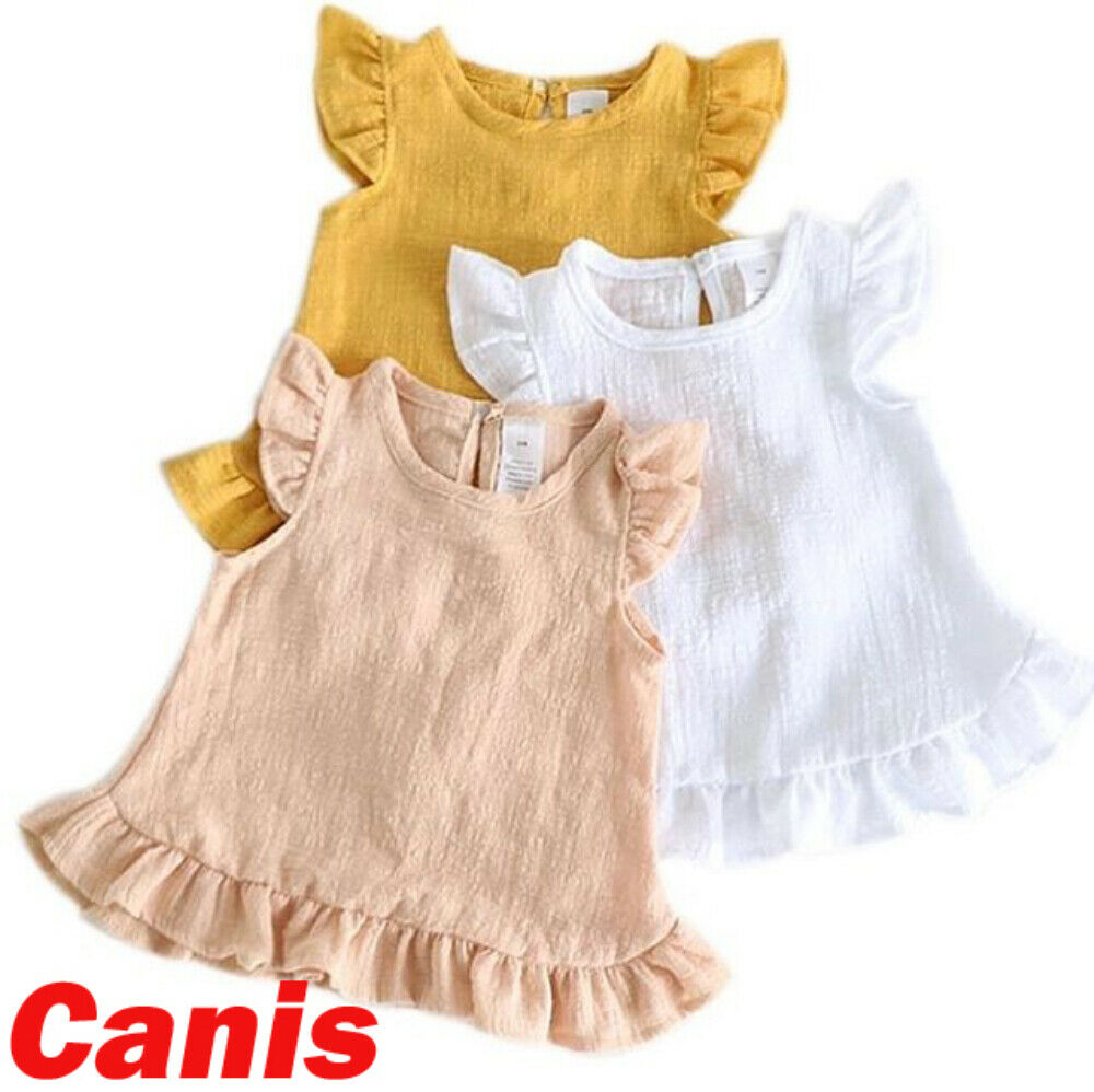 Toddler Baby Girl Clothes Sleeveless Solid Color Chiffon Dress Summer Casual Sundress