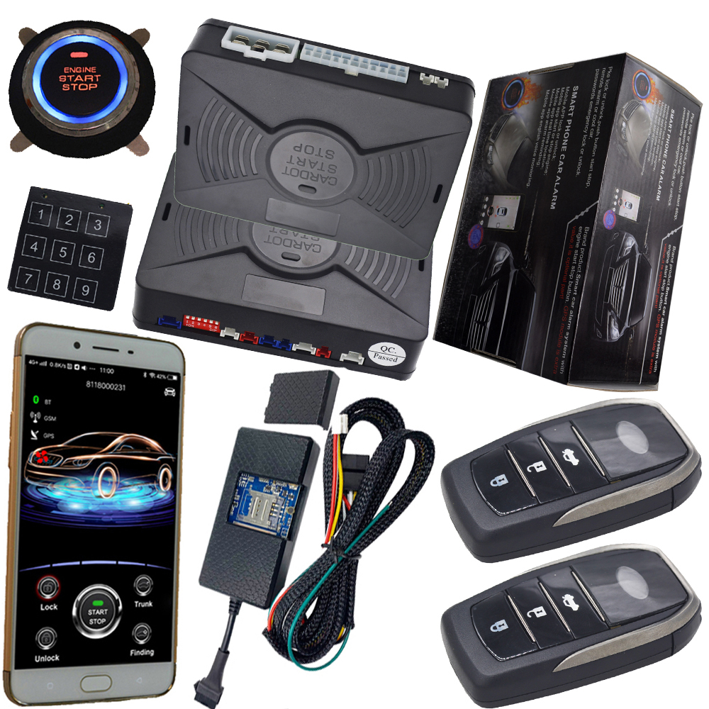 gps tracking system with car alarm protection keyless engine ignition start stop button mobile app control