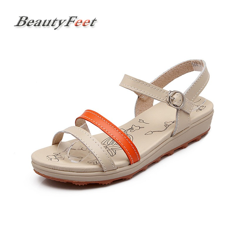 Summer Sandals Women Shoes Woman Genuine Leather Flat Fashion Causal Shoes Comfortable Platform Shoes Female Sandals BeautyFeet