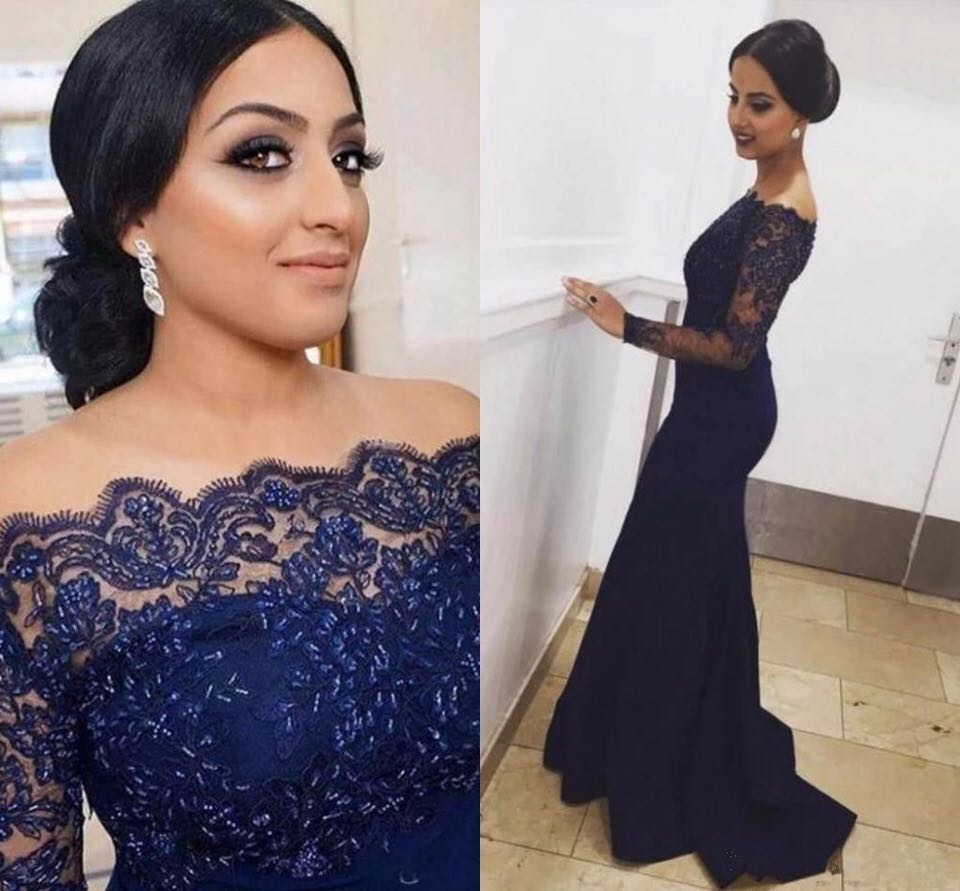 Sexy Lace Long Sleeves Off the shoulder Mermaid   Evening     Dress   2019 Formal Navy blue Mother of the bride   dress   Custom Made