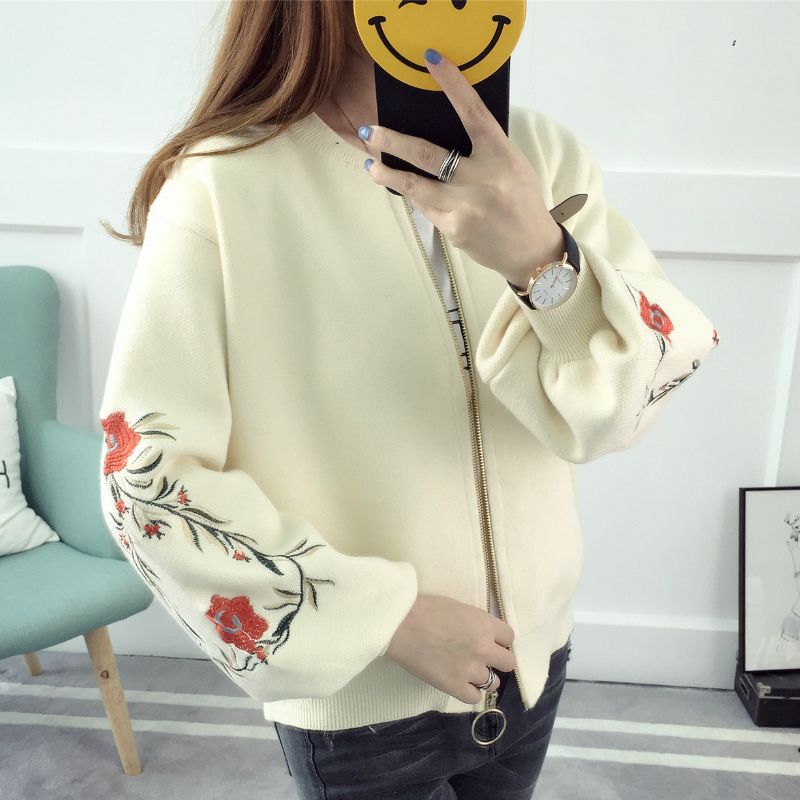 Kesebi 2017 Autumn Winter New Fashion Female O neck Embroidered Warm Knit Cardigans font b Women