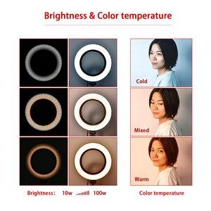Image 2 - Fosoto Lámpara de Anillo de luz Led regulable, iluminación fotográfica de 16cm/26cm, 3200K 5500K, fotografía de estudio con teléfono, vídeo, belleza, cámara de maquillaje
