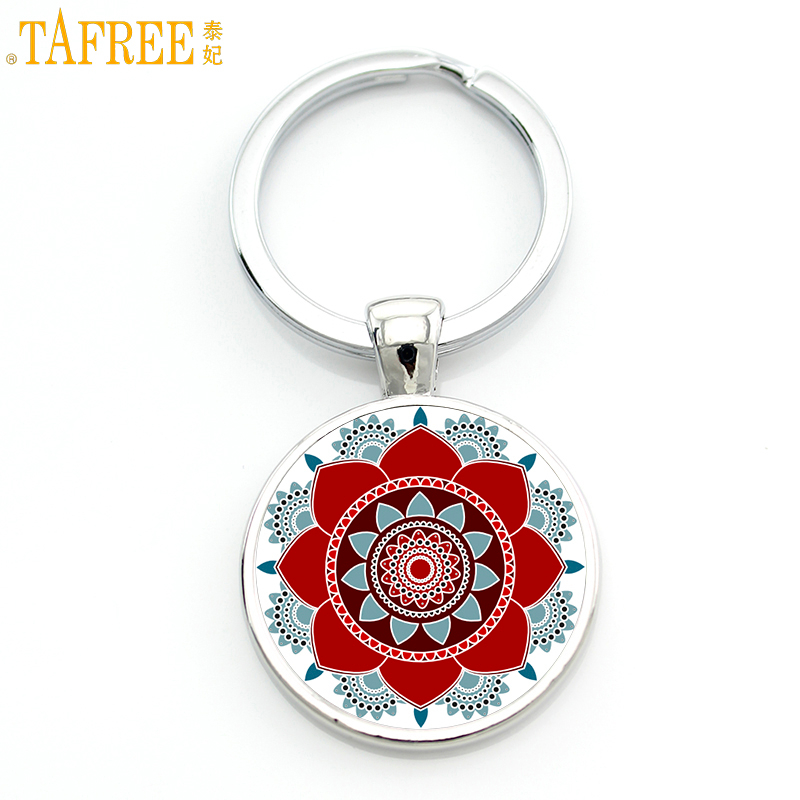 TAFREE 2017 New Mandala Flower Of Life Keychain Classic Budddhist  Sacred Geometry Women Key Chain Holder For Car Bag CT323