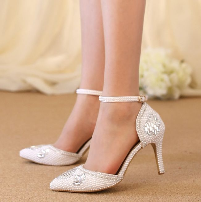 ФОТО 2017 superstar pump shoes woman TG998 silver crystal rhinestones hand made womens white pearls wedding shoes ankle buckle straps