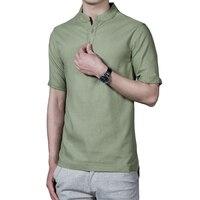 2017 Hot Sale Summer Fashion Men Linen Shirts Short Sleeve Casual Slim Fit Mens Dress Shirts