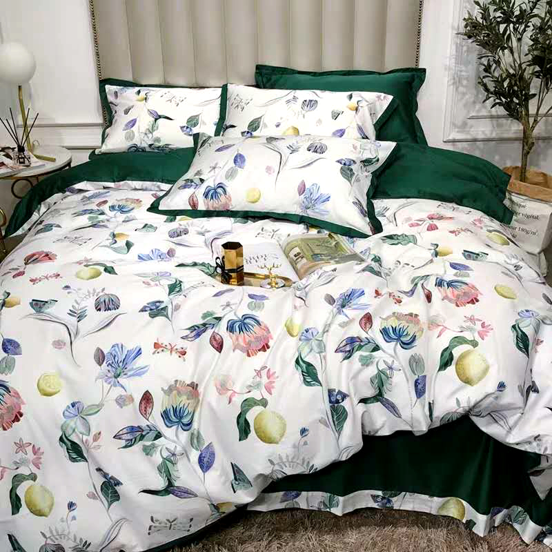 600TC Egyptian cotton bed linen sheets bedding sets duvet cover flower digital print newest double queen