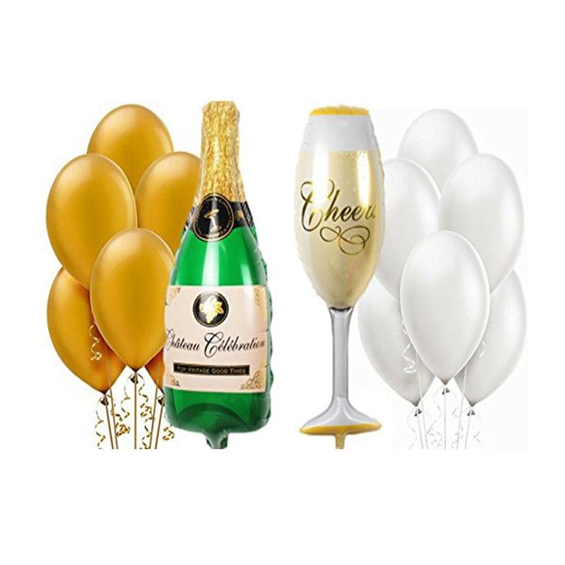1 Set Champagne Cup Fles Wijnglas Mylar folie Ballonnen Goud Wit - Feestversiering en feestartikelen