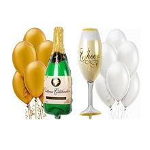 1 Σετ Μπουκάλι σαμπάνιας Μπουκάλι Μπουκάλι κρασιού Μολυλό αλουμινόχαρτο Μπαλόνια Χρυσό Λευκό μπαλόνια Latex Γάμος Γενέθλια Party Διακόσμηση Globos