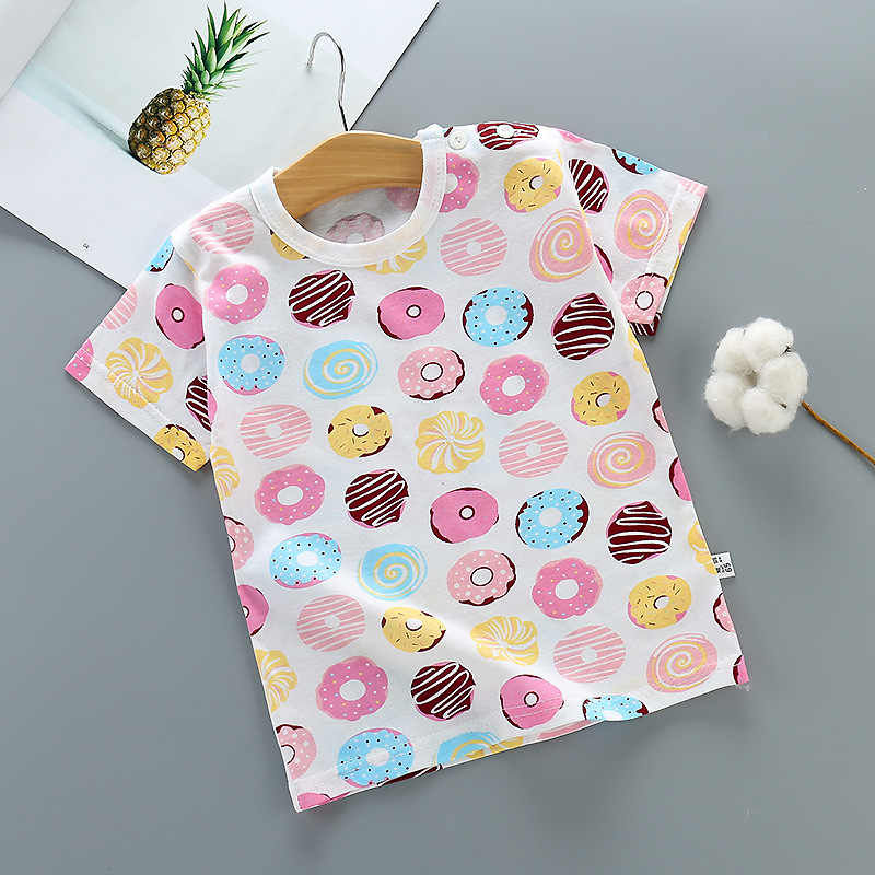 Baby Boys Girls Summer T-shirt Kids Cartoon Animal Donut Tops Tees T Shirt Tshirt Size 1 2 3 4 5 6 Year Children Cotton Clothing