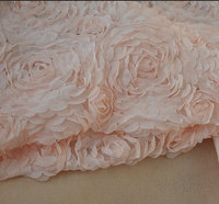 Nude Pink Chiffon Rosette Fabric Tissu Shabby 3D Flowers Fabric Rosette Fabric by the yard
