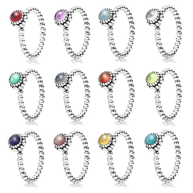 c9219a9ce 12 Colors Authentic 925 Sterling Silver Fashion Twelve Months Birthstone  Ring For Women as Gift Fine Pandora Jewelry Original