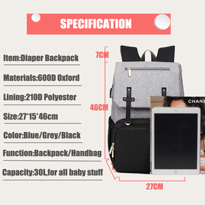 Image 5 - Baby Diaper Bag with USB Port Waterproof Nappy Backpack For Mummy Maternity Bags With Laptop Holder And Bottle Warmer