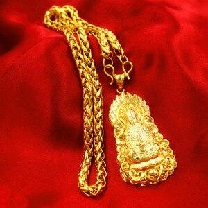 Image 2 - 誇張ロングチェーン 24 18k ゴールドワイド男性ジュエリービッグゴールドネックレス仏中国のドラゴントーテムのため男性