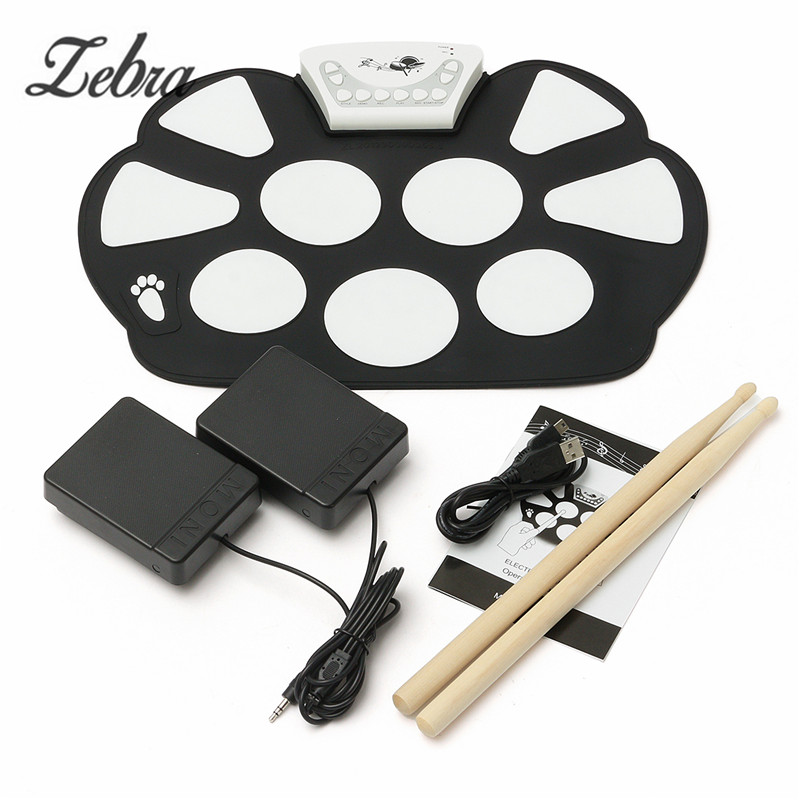 39x 27.5x2.5cm Silica Gel Foldable Portable Percussion Instruments Roll up USB Electronic Drum Kit+2 Drum Sticks+2 Foot Pedals