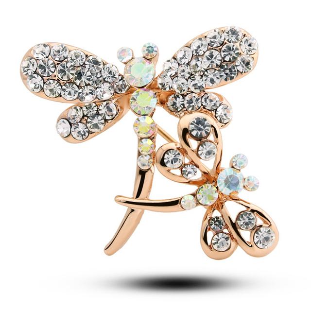 2016 mais novo luxo cristal Rinestone liga libélula broches de jóias de casamento presente Hot venda No. 1