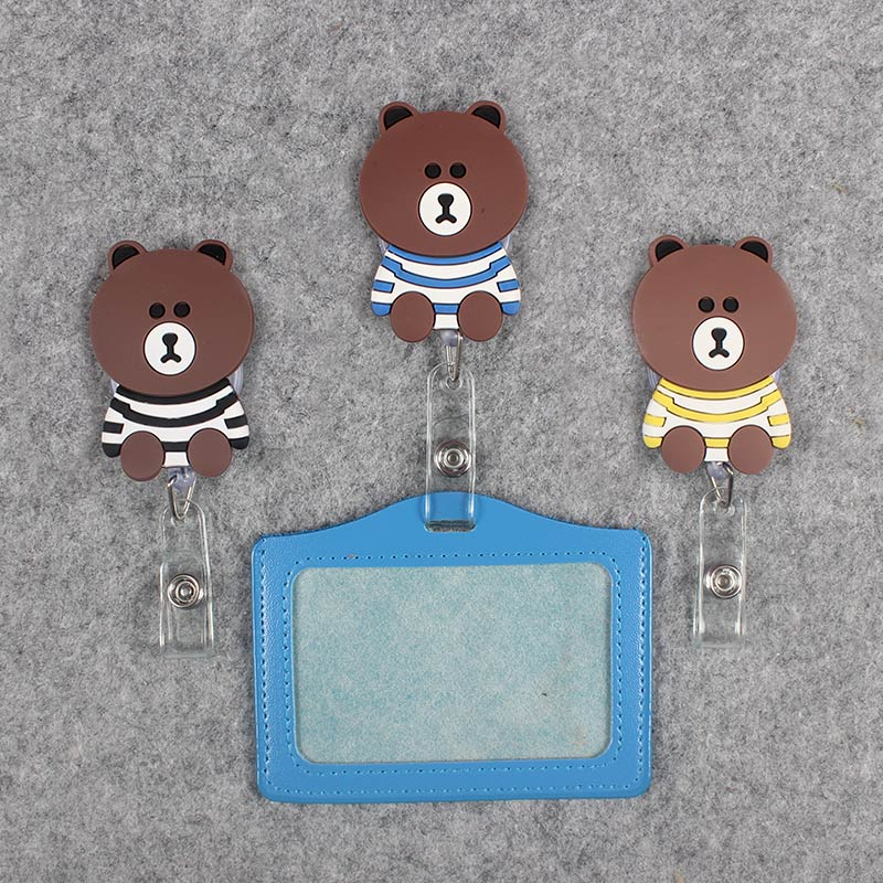 Funny Striped clothe Bear Badge Scroll Nurse Office Reel Scalable Nurse Exhibition Entrance School Guard Card ID PU CardHolder in Badge Holder Accessories from Office School Supplies