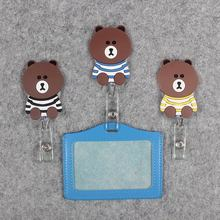 Funny Striped clothe Bear Badge Scroll Nurse Office Reel Scalable Exhibition Entrance School Guard Card ID PU CardHolder