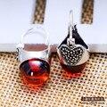 Marca de fábrica famosa amor corazón plata de ley 925 mujeres joyería de piedras semipreciosas Naturales Granate Pendientes de Señora novia de regalo