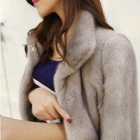 Для женщин зима искусственного меха лисы пальто Стенд воротник юбка пальто свободные Повседневное искусственный Меховая куртка Casaco de Feminino