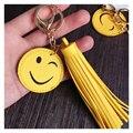 Couro Borla Chaveiro Emoji Smiley Emoticon amarelo Sorriso Rosto Carro Presentes Anel chave Das Mulheres Saco de Borla Charme Clef Porte Chave cadeias