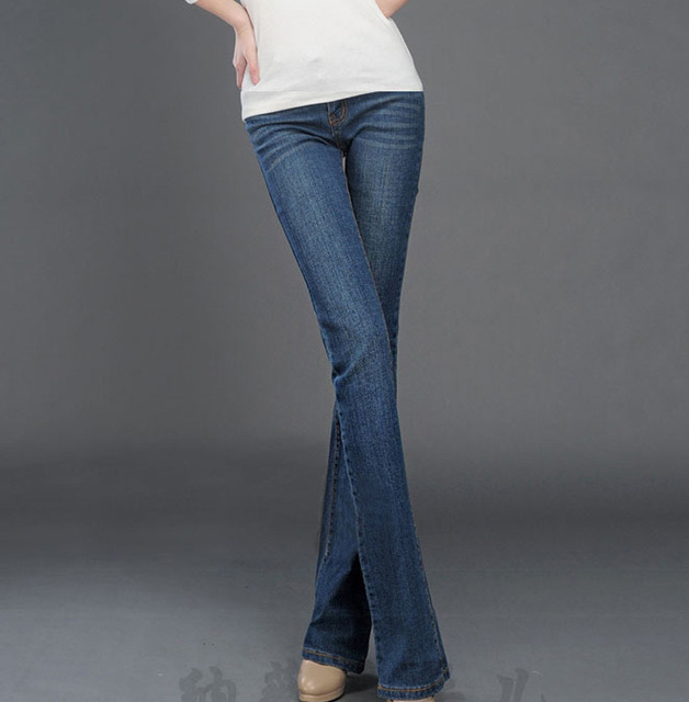 Micro flared trousers stretch jeans female hip thin large size wide leg denim bell commuter pants denim pants women A0133