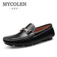 MYCOLEN Мужская Мода Лоферы Повседневная кожаная обувь Туфли человек плоским обувь для вождения черный, белый цвет минималистский Дизайн сезо