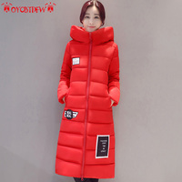 Winter cotton jacket women 2017 fashion new solid color Large size medium long section hooded Thickening warm women Parkas ll393