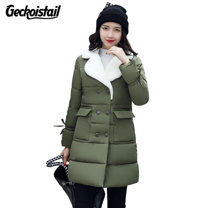 Geckoistail Frauen Winter Unten Jacken Mantel Parkas 2018 Baumwolle Padded Jacke Verdicken Warme Weibliche Jacke winterjassen dames