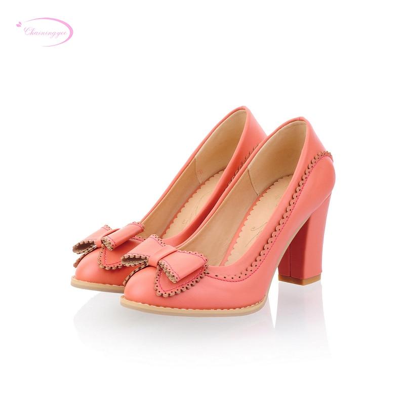 2e720bd9a73ba Chainingyee حزب الحلو نمط جولة تو punmps أزياء bowknot الزينة beiged الأزرق  الوردي عالية الكعب كبيرة الحجم النساء أحذية