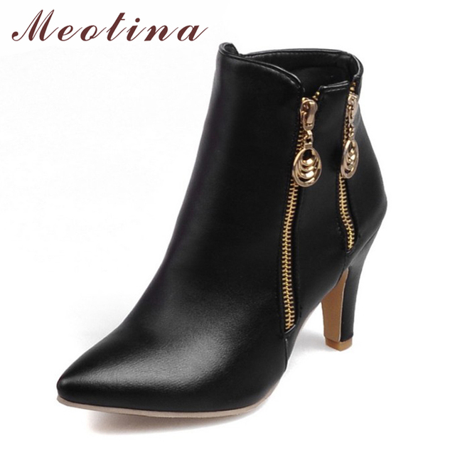 Meotina Women Spring Ankle Boots Autumn High Heel Boots Pointed Toe Martin Boots Zipper Shoes 2018 Black White Large Size 45