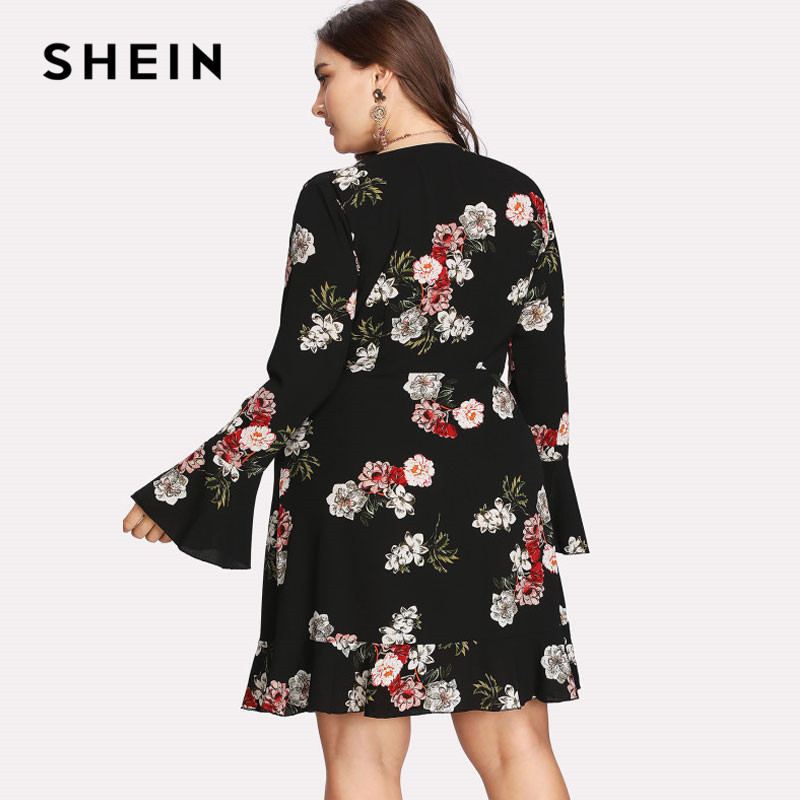 2c68a04c21 SHEIN Ruffle Sleeve Surplice Floral Plus Size Dress Spring Summer V-neck  Women Large Size Beach ...