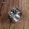 Men's Woman's Antiqued Stainless-Steel Gothic Floral  Rings Male Trendy Rock Punk Biker Bands Jewelry
