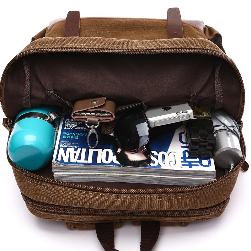 Купить с кэшбэком Casual Men Backpack Canvas College School Student Retro Rucksacks Male Travel Bag Multi-Function Laptop Bags Vintage Mochila CG