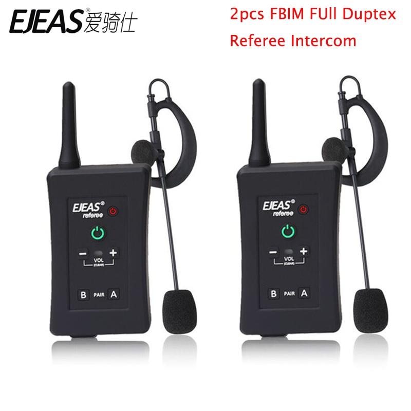 EJEAS 2 pièces FBIM moto Bluetooth interphone Football Football arbitre 4 coureurs en Duplex intégral BT arbitre casque avec Radio FM