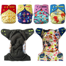 ALL IN ONE Charcoal Bamboo Baby Cloth Diaper Nappy Washable Reusable,Bamboo terry layer,microfiber Insert,Double Gussets AIO(China)