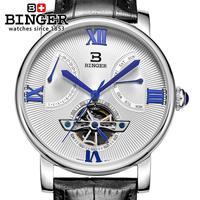 Binger 원래 브랜드 다이빙 시계 남자 자동 자체 바람 가죽 100 m 방수 비즈니스 뚜르 비옹 남자 손목 시계 2019