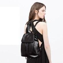 Новинка Длинные ленты деко элегантные женские школьная сумка для девочки рюкзак 100% натуральная кожа мягкая строка женский рюкзак