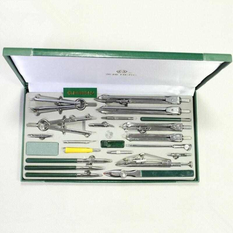 Authentique héros 23 pcs/lot H4023 instrument de dessin mécanique dessin ensemble de compas en métal