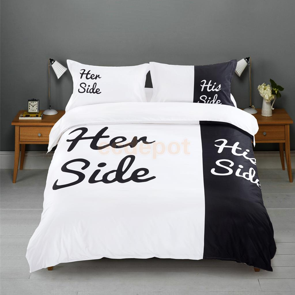 Funny Duvet Covers Us 50 26 Quality Double Bed Size Her Side And His Side Duvet Quilt Cover Sheet Pillowcase Set Funny Wedding Supplier In Party Diy Decorations From