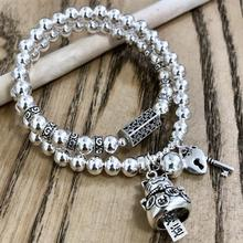 Handmade 925 Silver Wealthy Cat Beads Bracelet Sterling Beads Good Luck Bracelet Silver Beads Wrap Bracelet handmade 999 silver dragon bracelet pure silver power dragon beads bracelet good luck bracelet