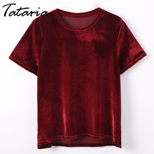 T shirt Women Summer 2020 Womens Tops Femme O Neck Short Sleeve Crushed Velvet T-shirt